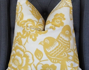 Yellow Bird Pillow Cover, Designer Pillow, Decorative Pillow, Throw Pillow, Duralee Thomas Paul Aviary, Maize, Home Furnishing, Home Decor