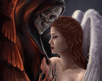 Life and Death Art Print, angel, reaper