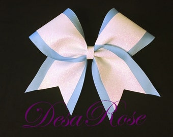 Light Blue and White Glitter Bow