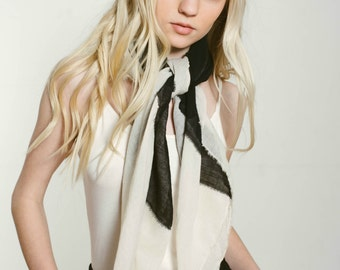 Black and Ivory Square Cotton Scarf, Cotton Fringe Scarf, Black and Ivory Scarf, Cotton Shawl, Fringe Shawl, Black and Ivory Shawl