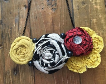 Yellow, Red, and Black Fabric Flower Statement Necklace, Bib Necklace, Rolled Rosette Statement Necklace, Summer Fashion