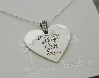 Handwriting Jewelry In Memory Signature Necklace Large Heart Pendant  in Sterling Silver