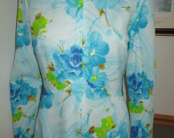 Maxi Dress Vintage - Flowing Blue Floral ~ Long Sleeve Maxi Dress ~ Womens Vintage  Dress