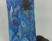Massage Therapy Single bottle RIGHT hip holster, blue oil on water print, pen pocket, black belt