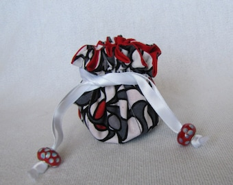 Fabric Jewelry Pouch - Mini Size - Drawstring Tote - Bag for Jewelry - CHERRY BLOSSOM