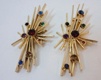 60s Atomic big goldtone clipbacks earrings rhinestones