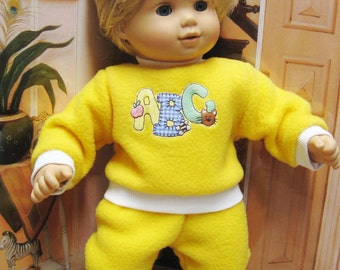 """Yellow Fleece ABC Playsuit for your 15"""" Bitty Baby Doll"""