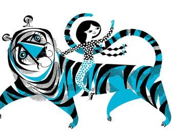 A2 Blue Tiger Screenprint
