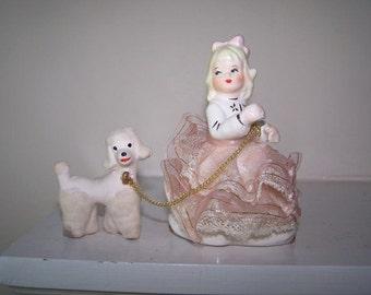 Dog Girl Figurine, Pink White Gold, Girl with Poodle, Collectible Poodle, Dog Walker Figurine, Dog Lover, Blonde Girl, White Poodle, Vintage