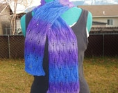 Wool and Silk - Candle Flame Scarf - Blues and Purples Lace Scarf