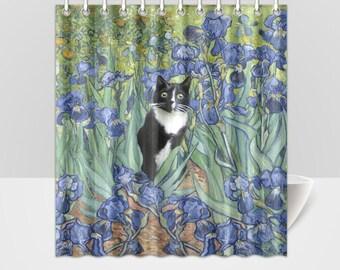 Black and White Tuxedo Cat in Van Gogh's Irises Shower Curtain