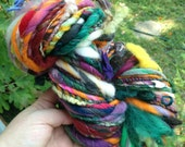 Art Yarn BIG 6.5 oz 74 yd Skein. Handspun handmade super bulky multicolored ultra soft and lofty felt flower, felt bobbles, thread plied