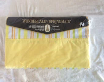 Vintage Twin Flat sheet, new in plastic / new old stock / vintage deadstock / vintage springmaid sheet / wondercale