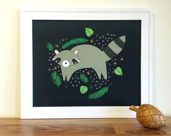 Raccoon Print, Animal Wall Art, Raccoon Room Decor, Baby Room Decor, Raccoon Nursery Art, Bear Wall Decor, Forest Animal Print