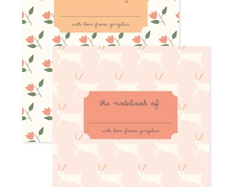 Flower Notepad, Flower & Bunny Pocket Notebooks, Rabbit Jotter, Gifts for Mom, Gifts for Paperlovers, Hostess Gifts, Woodland Notebook