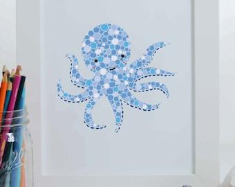 Blue Octopus Art Print, Octopus Illustration, Nautical Art Print, Nursery Decor, Sea Creature Art Print, Ocean Art, Under the Sea Art Print