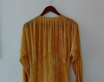 Vintage goldenrod silk velvet gown. Small