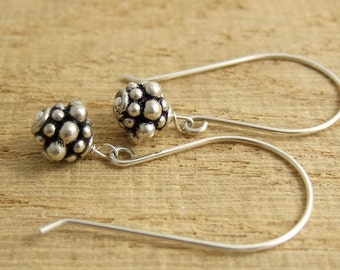 Earrings with Large French Wires and Sterling Silver Bali Beads HE-318