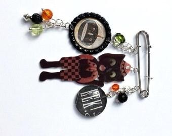 Black Cat Pin Halloween Brooch Pin Black Cat Pumpkin EEK Mixed Media Jewelry Vintage Whimsical Jewelry OOAK