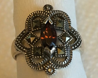 Vintage Sterling Silver Marcasite Amber Stone Ladies Ring