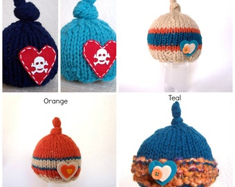 Valentine Boy Photo Prop Baby Felt Red Heart Newborn Beanie Skull and Bones Going Home Cap Hand Crafted Knit Coming Home Hat Turquoise Navy