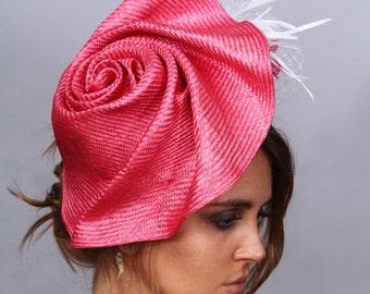 Rose fascinator, Kentucky Derby hat, color Pink