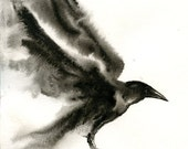 CROW Original watercolor painting 8x10inch(Vertical orientation)