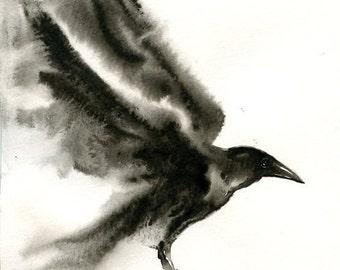CROW Original watercolor painting 8x10inch(Vertical orientation)