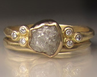 Raw Diamond Engagement Ring, Raw Diamond Cluster Ring,  Recycled 14k Yellow Gold Rough Diamond Ring, 1.90 Carats