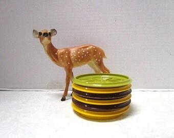 Vintage Tupperware Coasters 6 Piece Set, Plastic, Earth Tones Brown Gold Green Entertaining #1313, Plastic DiscsCup Lids