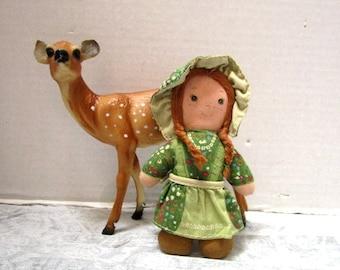 Vintage Holly Hobbie Friend Amy Cloth Doll Knickerbocker Toys The Original, Sweet Patchwork Girl, Braids, Bonnet, Mini Sized, Rare