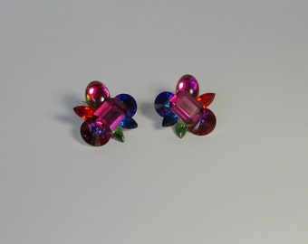 1980s Chunky Acrylic Multi-Colored Rhinestones Earrings. Wendy Gell style
