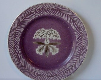 Mid Century WAYLANDER GREGORY, Plum, Ivory and Gold color ORCHID Flower Plate.