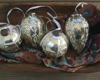 Vintage HUGE Kugel Style Mercury Christmas Glass Ornaments, SET Of 4, Circa 1960's, Heavy Crackle Glass Ornaments With White Floral Overlay