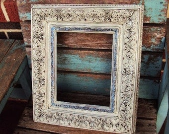 Shabby Chic Vintage Frame Baroque Rococo Ornate Frame Antique off White Baby Blue Open Frame Nursery Wedding Display French Country
