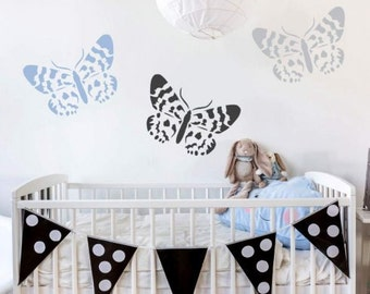 Blue Day Butterfly Wall Art Stencil - Size: Medium - Easy To Use For DIY Wall Art- Better Than Decals