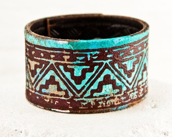Unique Original Turquoise Bracelet - Women's Leather Jewelry - Bohemian Wristbands - Hippie Boho Gypsy Fashion