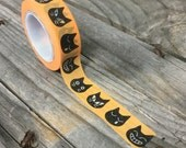 Washi Tape - 15mm - Black Cats on Orange Pattern - Deco Paper Tape No. 311