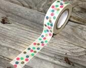 Washi Tape - 15mm - Multi-Color Dots on White - Deco Paper Tape No. 1014