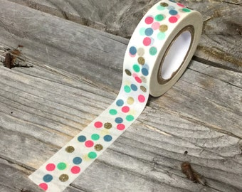 Washi Tape - 15mm - Multi-Color Dots on White - Deco Paper Tape No. 1014