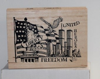 America New York flag liberty bell Twin Towers Freedom Statue USA Rubber Stamp