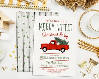 Truck Christmas Party Invitations. Red Truck Holiday Party Invites. Rustic Christmas Invitations. Retro Christmas Party Invitations.