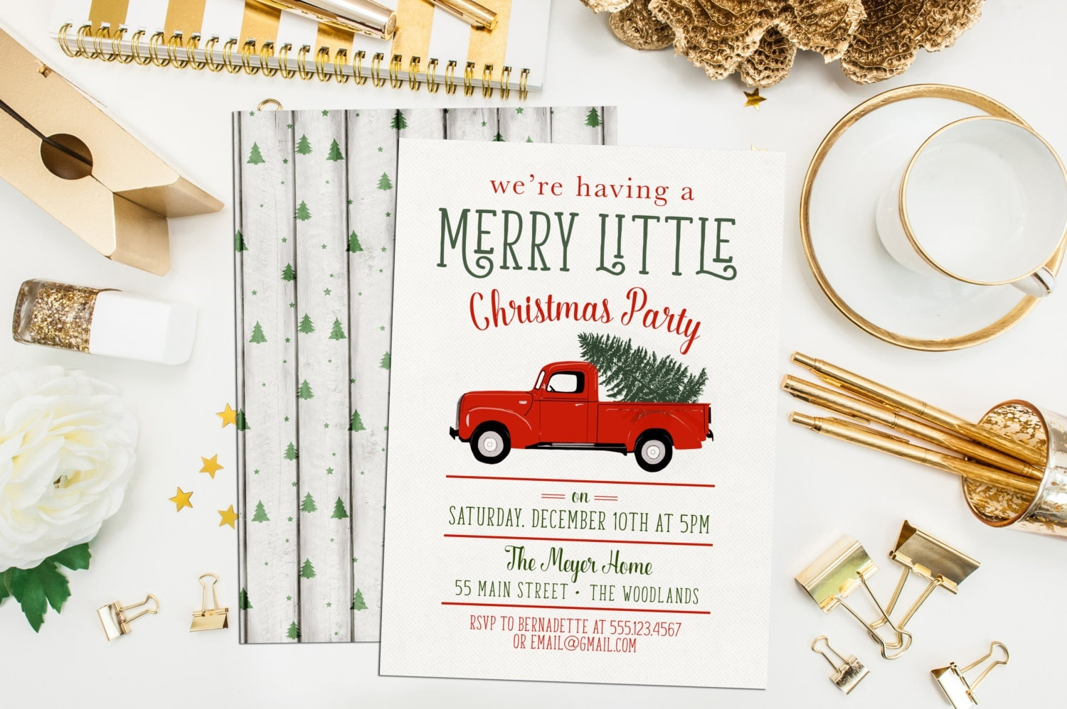 Truck Christmas Party Invitations. Red Truck Holiday Party