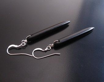 Black Spike Earrings, Black Howlite Spike Sticks, Black Earrings, Black Turquoise Earrings, Turquoise Earrings, Howlite Dangle Drop Earrings