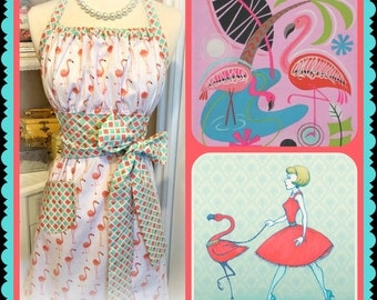 Handmade Flamingos apron, tropical, Florida, retro, diamonds, bird