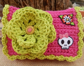 Crocheted Purse  ~ Hot Pink and Lime with Girl Skull Crocheted Cotton Little Bit Purse