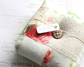 Rose Floral Square Pincushion Floral Pin Keep Scrappy Pin Cushion