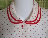 Sheer Red Polka Dot Blouse with Peter Pan Collar 1950s Style - XL XXL