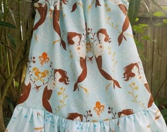 Mermaid Sisters Dress, ruffle dress, pageant dress, nautical dress, seahorses