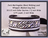 Jan's Martingales, Black Collar and Leash Combination Walking Lead, Whippet, Medium Dog Size, wblk215
